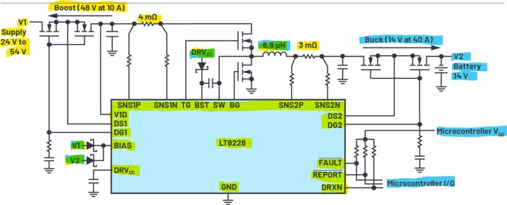 Figura 1. LT8228 configurado en un sistema de respaldo de batería bidireccional simplificado